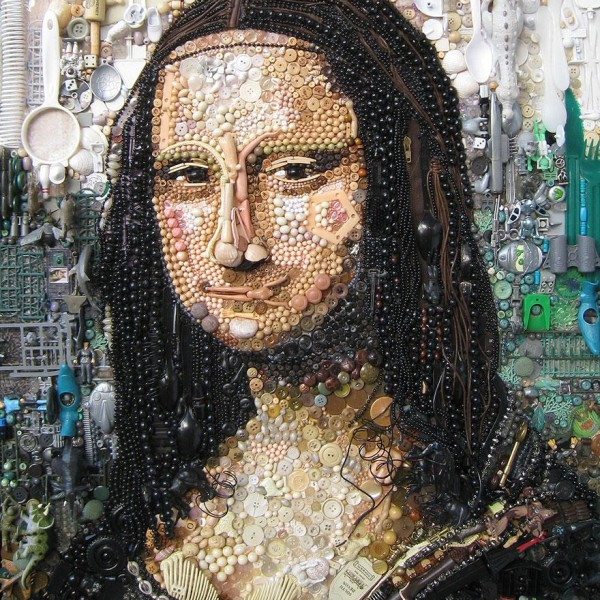 Jane Perkins - A reinterpretation of Mona Lisa using textile collage techniques and found plastic objects
