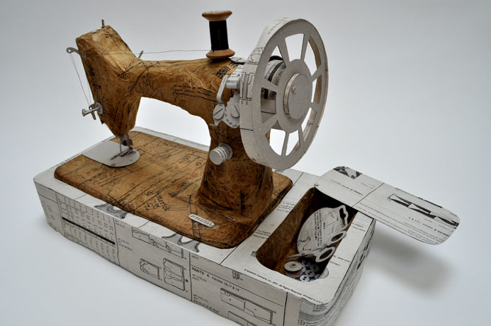 Jennifer Collier - Singer Sewing Machine textile sculpture using recycled paper
