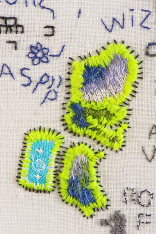 Domestic, detail with fluorescent thread