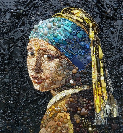 Textile and multimedia artist Jane Perkins - Girl with the Pearl Earring (Plastic Classics)