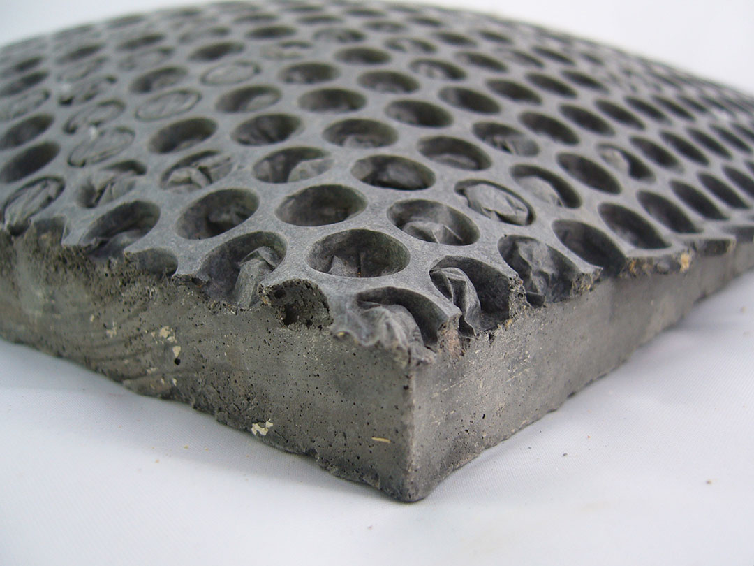 Concrete moulded on bubble wrap