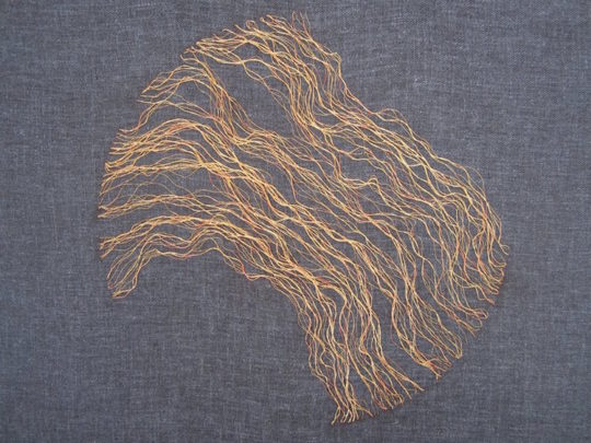 Hanny Newton, Personal Stratigraphies 2, 2015, 30cmx30cm, Japenese gold thread couching on linen