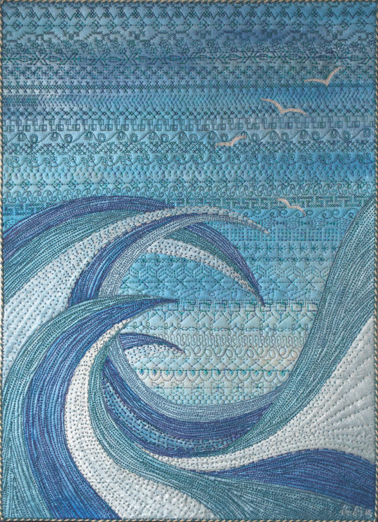 Neroli Henderson, The Churning, 2014, 30 x 42cm, Acrylic metallic fabric paint, cotton fabrics, fusible raw edge applique, intensive quilting and machine decorative stitches
