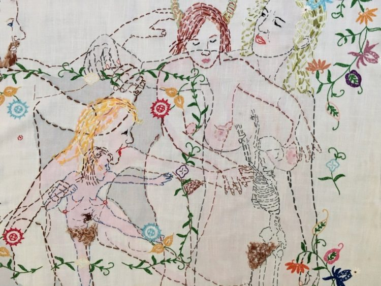 Orly Cogan: Hostile Beauty (Detail), Hand stitched embroidery on linen
