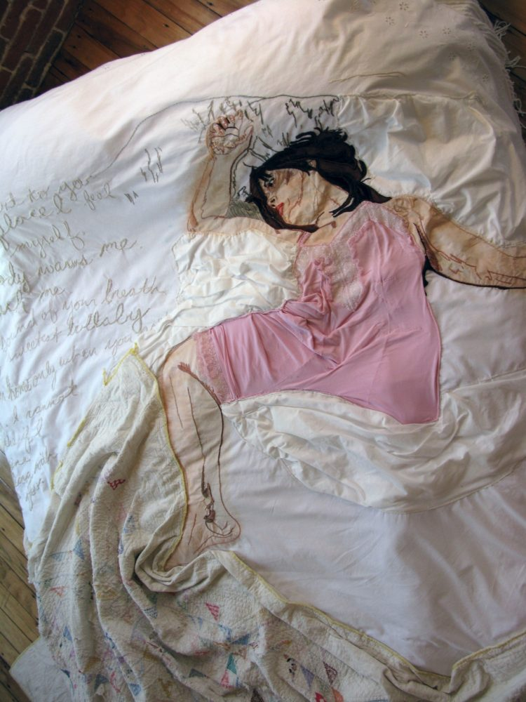 Joetta Maue: waking with you (Detail), 2010, 60in x 80in x 15in, hand embroidered, appliquéd, and painted re-appropriated linen, and queen size bed
